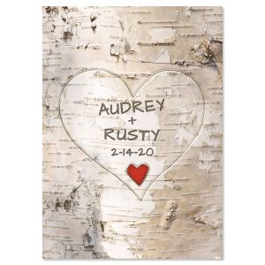 Tree Carving Personalized Valentine Card
