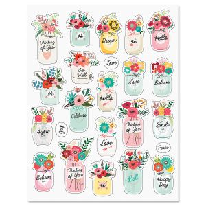 Floral Jar Stickers