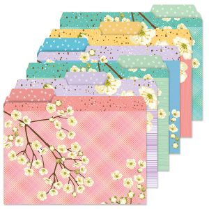 White Bloom File Folders