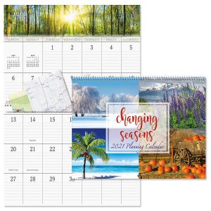 2021 Changing Seasons Big Grid Calendar with Pockets