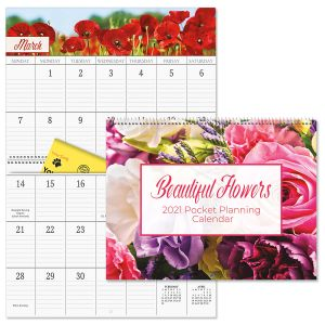 2021 Beautiful Flowers Big Grid Planning Calendar with Pockets