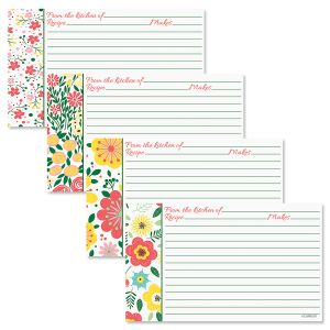 Garden Flowers Recipe Cards with Protective Sleeves