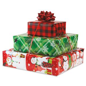 Snowman Plaid Flat Gift Wrap Sheets - BOGO