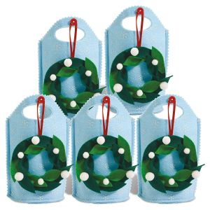 Felt Treat Bags with Removable Wreath Ornament - Set of 5