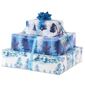 Snowy Trees Flat Gift Wrap Sheets - BOGO