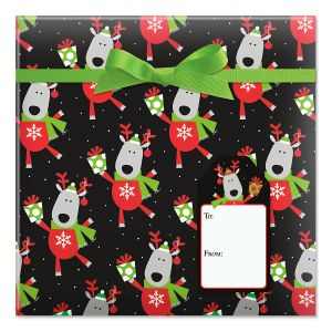 Leaping Deer Jumbo Rolled Gift Wrap and Labels