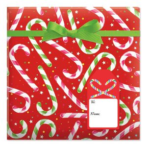 Candy Cane Joy  Jumbo Rolled Gift Wrap and Labels