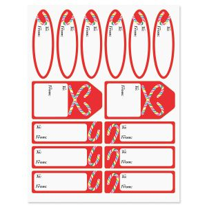 Candy Cane Joy Gift Wrap To/From Labels