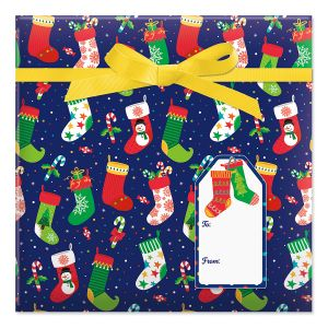 Christmas Stockings Jumbo Rolled Gift Wrap and Labels