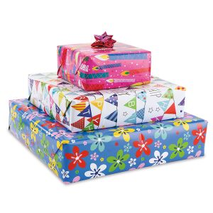 Colorful Birthday Flat Gift Wrap Sheets