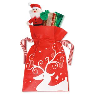 Reindeer Fabric Drawstring Treat Bags