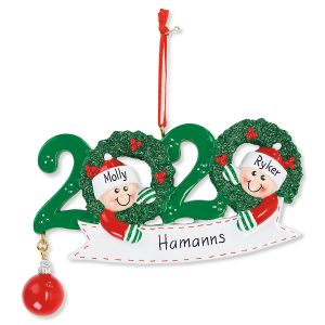 2020 Wreath with Striped Mittens Hand-Lettered Christmas Ornament