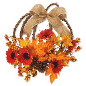 Rattan Pumpkin LED Wreath