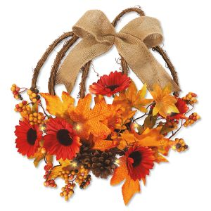 Rattan Pumpkin LED Wreath