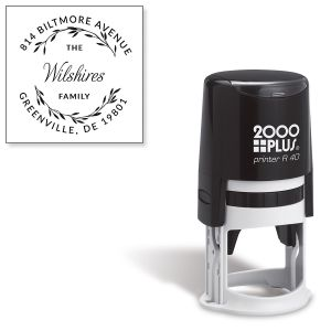 Simple Leaves Round Self-Inking Address Stamp