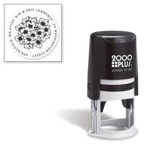 Hydrangea Round Self-Inking Address Stamp