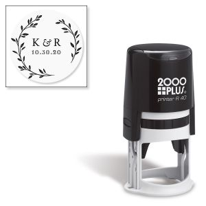 Floral Initial Round Self-Inking Address Stamp