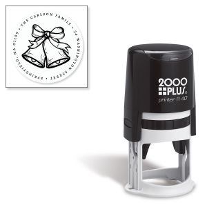Silver Bells Round Address Stamp