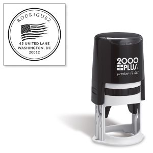 Patriotic Self-Inking Round Address Stamp