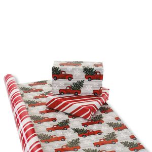 Red Truck Double-Sided Jumbo Rolled Gift Wrap