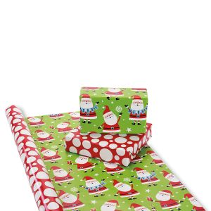 Santa Merry Banner Double-Sided Jumbo Rolled Gift Wrap