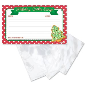 Cookie Swap Christmas Recipe Cards with Plastic Sleeves