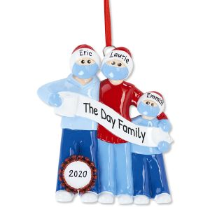 Quarantine Family Hand-Lettered Christmas Ornament