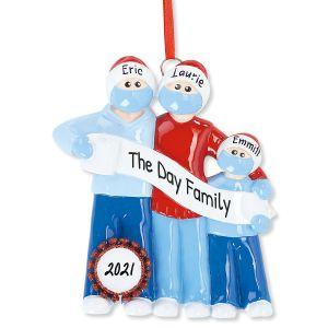 Quarantine Family Hand-Lettered Christmas Ornament