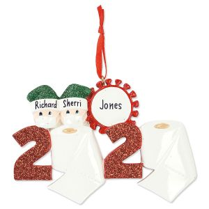 Quarantine Couple Hand-Lettered Ornament