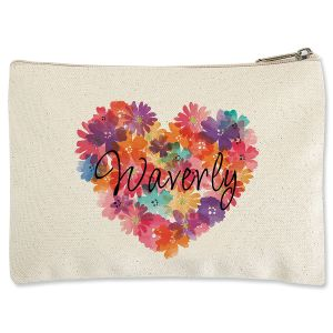 Floral Heart Zippered Pouch