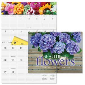 2022 Beautiful Flowers Big Grid Planning Calendar with Pockets