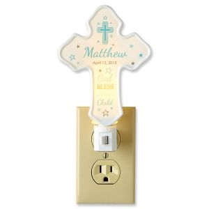 Bless This Child Cross Blue Personalized Nightlight