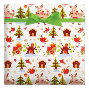 Sleighs & Reindeer Classic Rolled Gift Wrap