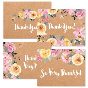Floral Kraft Thank You Note Cards Value Pack