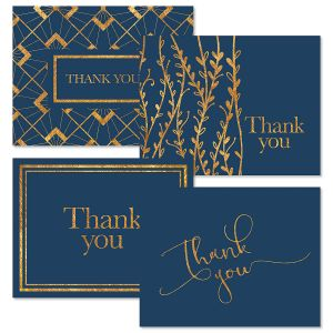 Navy Foil Thank You Note Cards Value Pack