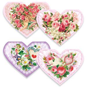 Diecut Heart Victorian Valentine Note Cards