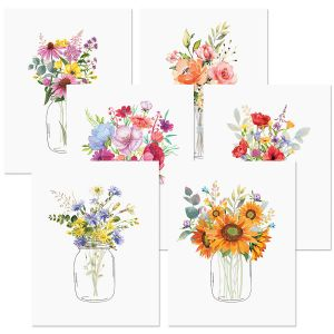 Floral Jars Note Cards Value Pack