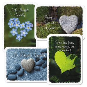 Diecut Natural Heart Sympathy Greeting Cards and Seals