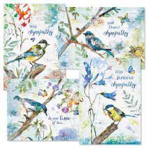 Diecut Collage Birds Sympathy Greeting Cards and Seals