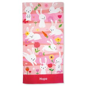 Pink Personalized Bunny Towel