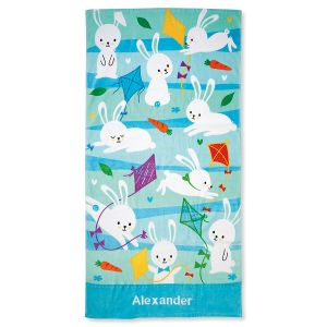 Blue Personalized Bunny Towel