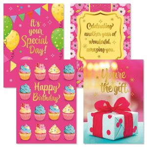 Deluxe Foil Pretty in Pink Birthday Cards and Seals