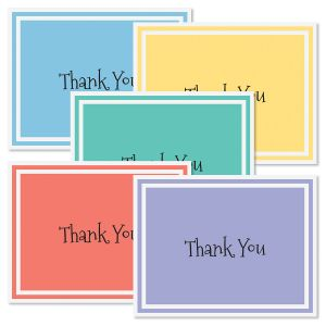 Border Brights Thank You Note Cards - BOGO
