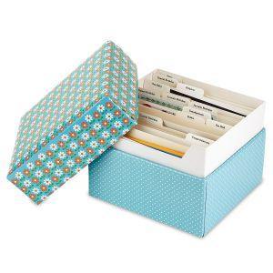 Dots & Daisies Greeting Card Organizer Box and Labels