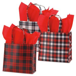 Holiday Plaid Small Tote Bags