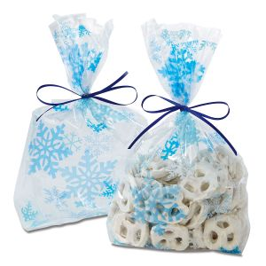 Blue Snowflake Cello Treat Bags with Ties