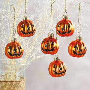 Glass Jack-o'-Lantern Ornaments