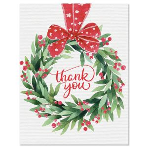 Wreath Ribbon Thank You Note Cards - BOGO