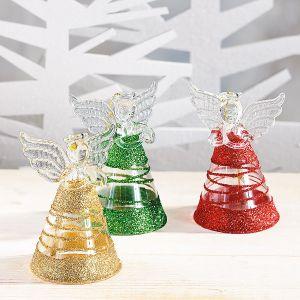 Glitter Swirls Glass Angels