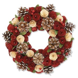 Wood Rose and Pinecone Wreath